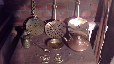 Job Lot Vintage Brass And Copper Items / Cream Skimmers / Kettle / Horse Brass