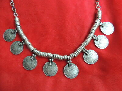 Vintage PERSIAN Middle Eastern Islamic Arabic Ottoman Silver Coins Necklace