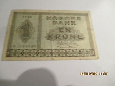 1944 Norway 1 Krone Note,P-15a