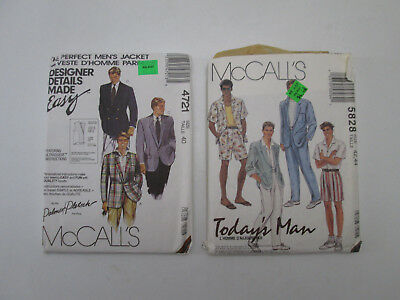 2 Uncut McCall's Men's Patterns 4721 Jacket & 5828 Shirt Pants Shorts Sz 40 42 &