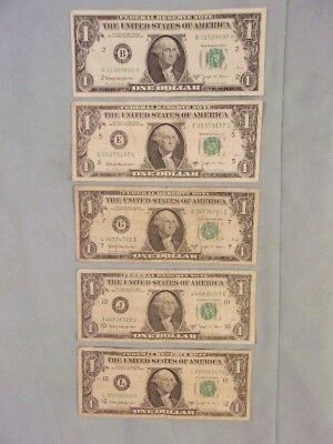 1963-B $1 FEDERAL RESERVE BARR NOTES, 5 Note Set: 1 From Each Producing District