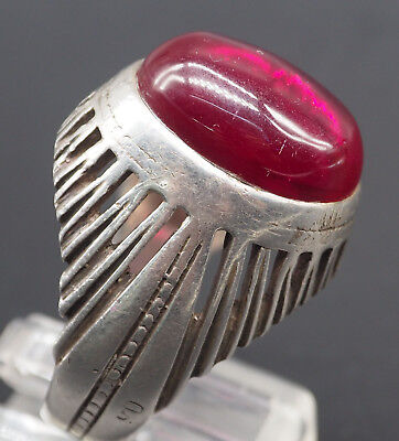 Wonderful Rare Unique Burma Ruby Antique Solid Silver Ring #SH1425