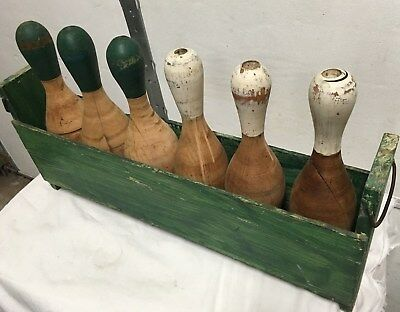 TWO Sets Of SIX VINTAGE BOWLING PINS IN WOODEN CASE, 12 total in 2 cases