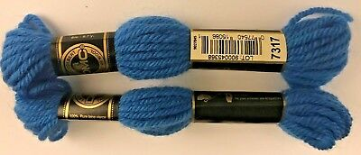 "2 pack DMC Tapestry Wool, 8m SKEIN, 7317 ""ROYAL BLUE""  FREE USA Ship NWT"