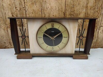 Vintage Metamec Brass And Marble Mantle Clock German Quartz Movement