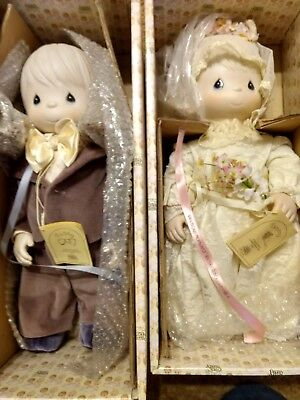Precious moments  1982 porcelain bride & groom Tammy and Cubby dolls with boxes