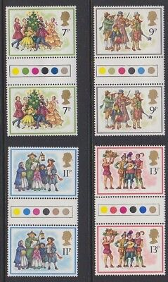 GB EII 1978 Xmas MINT set TRAFFIC LIGHT Gutter Pairs sg1071-1074 MNH