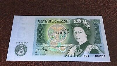 BANK OF ENGLAND ONE £1 NOTE 1978 (Page) A01 FIRST RUN UNC