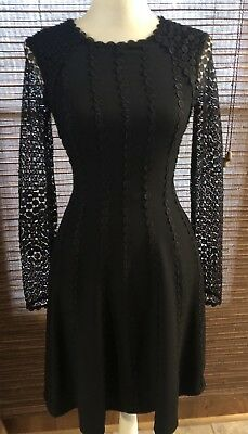 71658c0e43f Antonio Melani Black Long Sleeve Fit And Flare Lace Cocktail Dress Sz 0-4
