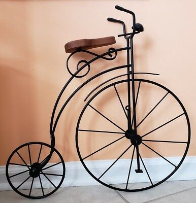 """Metal Wire Rod Antique Style High Wheel Bicycle Wall Decor Display Art 20"""" High"""