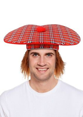 Fancy Dress Tam O Shanter  Ginger Hair Tartan Scotland Scottish Jumbo Hat Burns
