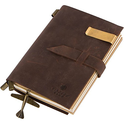 Genuine Leather Bound Travel Journal and Handmade Antique Diary with Refillable