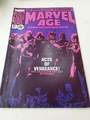 Old Marvel Age Comic Book Mid Nov Issue 81 Acts Of Vengeance
