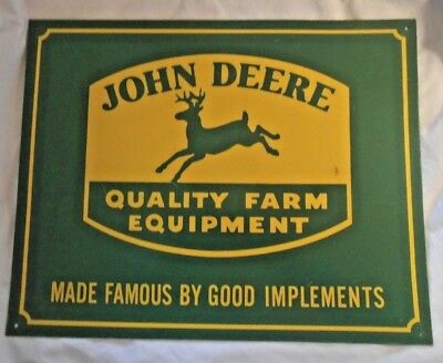 Vintage John Deere Sign Quality Farm Equipment - Good Implements With Green Deer
