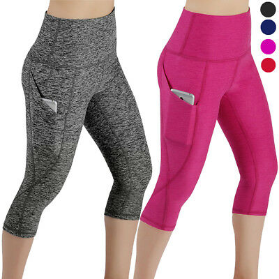 Lady Yoga Gym Cropped Leggings 3/4 Pants Ladies Running Sport Exercise Trousers
