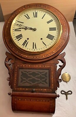 Antique Drop Box Wall Clock With Key And Pendulum.late 18Th Century.