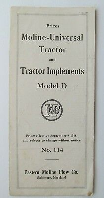 1918 Moline-Universal Tractor and Tractor Implements Model D Price List