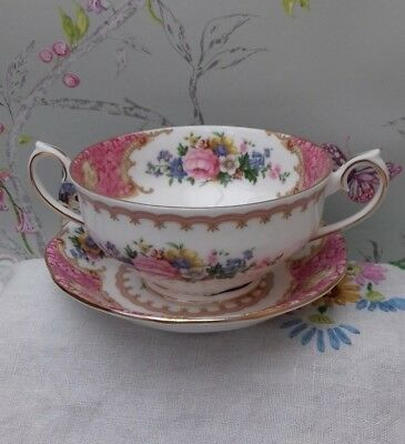 Lady carlyle soup coupe twin handled soup bowl  & Tea saucer 1944 royal albert