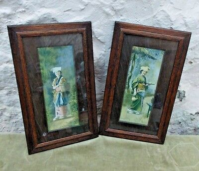 Pair Antique Japanese Prints in Wooden Frames 1901 Portrait Woman in Kimono