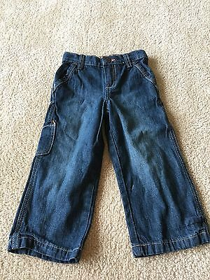 Genuine Kids Boy's Dark Blue Denim Jeans, Adjustable Waist, Size 3T