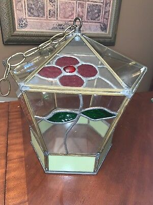 HAND MADE Glass TIFFANY LEADED hanging TERRARIUM CAGE HOUSE 1970's VTG OOAK BIG