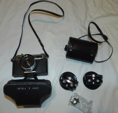 Yashica Electro 35 GSN 35mm Rangefinder Film Camera With 2 Auxiliary Lenses