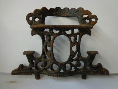 Vintage Ornate Cast Iron stove top for parts Candle Stands, chimney