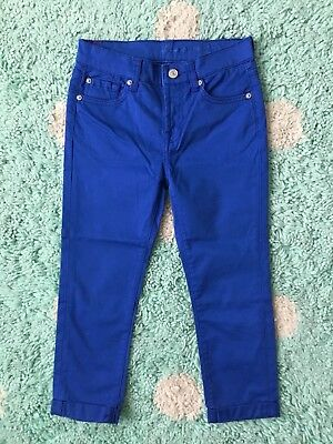7 Seven For All Mankind Skinny Jeans Kid Girls 10 Crop Roll Royal Blue Sateen
