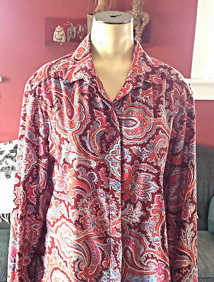 True 70s VINTAGE womens large Shirt PAISLEY print blouse psychedelic button top
