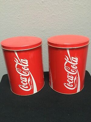 "Vintage pair of collectible soda Coca Cola Tall Round Tin 7.25"" x 5.5"" storage"