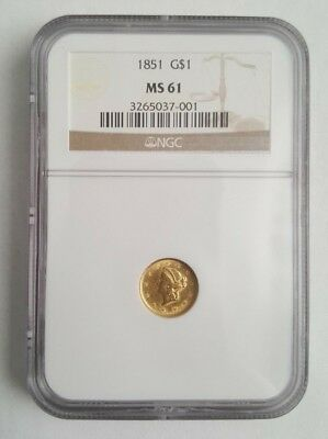 1851 $1 One Dollar Gold Liberty - NGC MS61 - NO Reserve -- Free Shipping