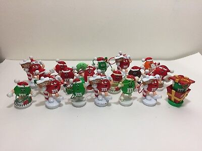 Lot 19 M&m Toy Figure Candy Toppers Christmas Ornaments