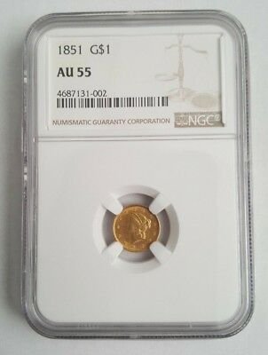 1851 $1 One Dollar Gold Liberty - NGC AU55 - NO Reserve -- Free Shipping