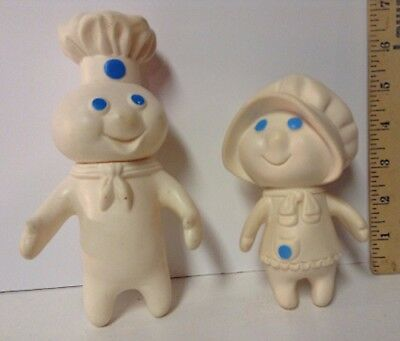 Vintage Pillsbury Poppin Fresh Dough Boy 1971 and Dough Girl 1972 Rubber Dolls