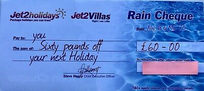 1 x latest New Jet2Holidays £60 Rain Cheque voucher Valid until March 2020!!
