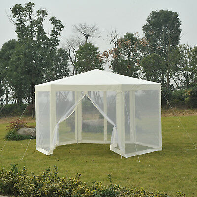 Outsunny Φ12.8' Garden Shelter Gazebo Party Tent with Netting Mesh Sidewalls