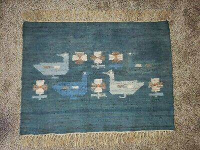 Vtg teal PICTORIAL NAVAJO RUG 30x22 Road Runner Bird Hand Woven Wool wall hangin