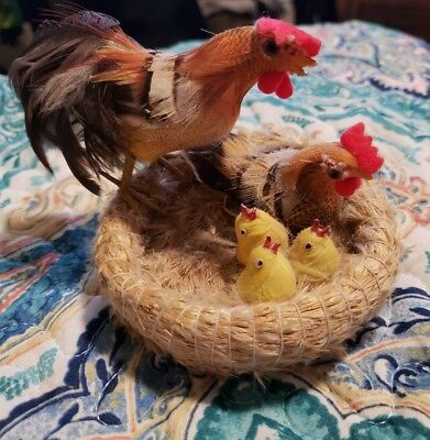 Vintage Chicken Rooster Chicks on Natural Hay Nest Set 2 Country Farm Animal