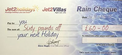5 x latest New Jet2Holidays £60 Rain Cheque voucher Valid until March 2020!!