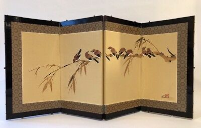 Vintage Folding Screen Asian Birds  Chinese 4 Panel  Immanuel Painted 36 x 17
