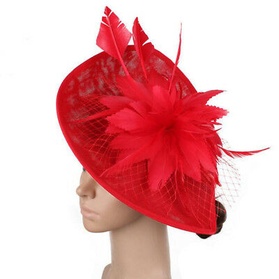 Feather Hair Fascinator Hat Veil Headband Clip Wedding Ascot Races Headpiece