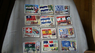 Vintage 1956 TOPPS FLAGS OF THE WORLD CARDS - Lot of 58 - Lesser Grade