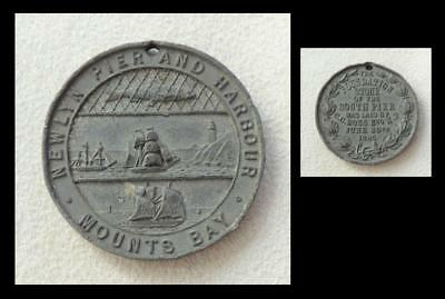 NEWLYN PIER & HARBOUR MEDAL, MOUNTS BAY, Cornwall, 1885 - Foundation Stone Laid