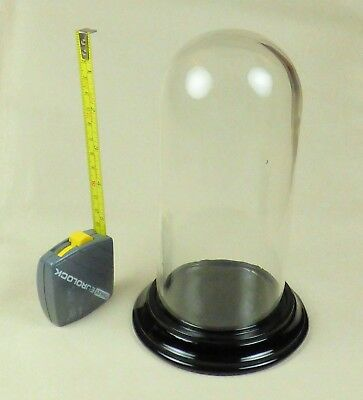 Vintage GLASS DISPLAY DOME/ BELL JAR with PRESSED BLACK GLASS BASE