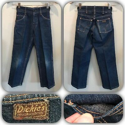 DICKIES 50s Jean Indigo Denim Button Fly Single Stitch Rockabilly Rivet Kids VTG