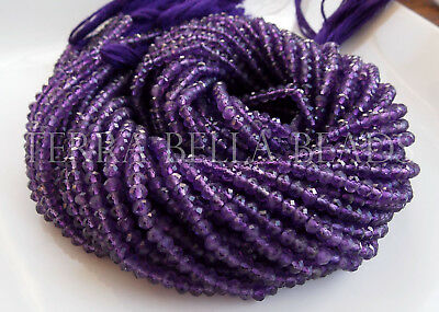 """13"""" medium purple AAA AMETHYST faceted gem stone rondelle beads 3.8mm calibrated"""