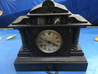 VINTAGE SLATE / MARBLE MANTEL CLOCK, for restoration.