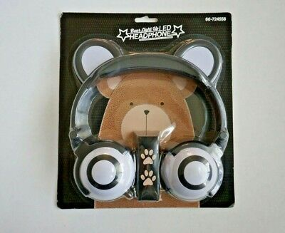 NEW Bear LED Light Up Bear Ear Mouse  Flashing Glowing Solid Audio Headphones