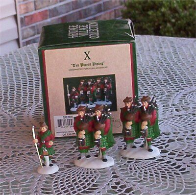 Mint Dept 56 Ten 10 Pipers Piping-12 Twelve Days Of Dickens Village-Christmas