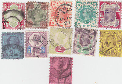 GB STAMPS QUEEN VICTORIA JUBILEE ISSUE SET OF 11 USED bk  b